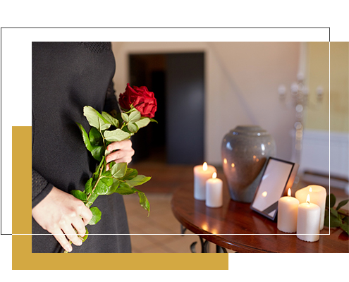 Image of Flowers and Urn for cremation only no service