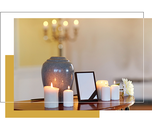 Image of urn and candles for a cheap funeral in Brisbane